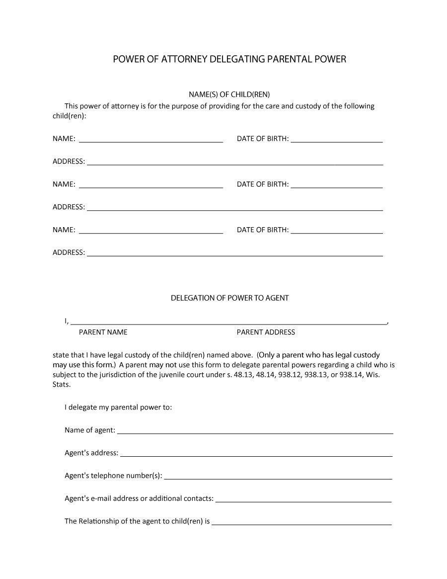 Power Of Attorney Template For Children Innovative 50 Free Power Of Attorney Forms Temp Power Of Attorney Form Power Of Attorney Templates Free Design