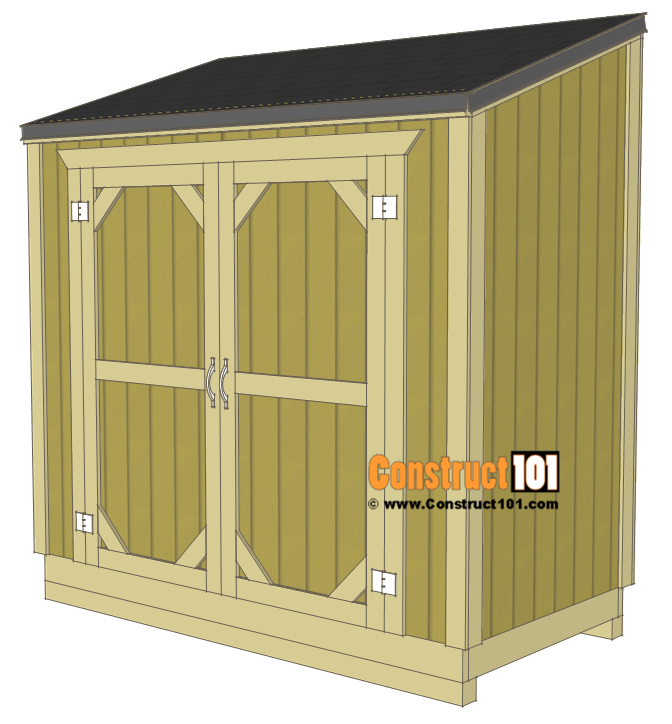 Lean To Shed Plans 4x8 Step By Step Plans Construct101 In 2020 Diy Shed Plans Outdoor Storage Sheds Lean To Shed Plans