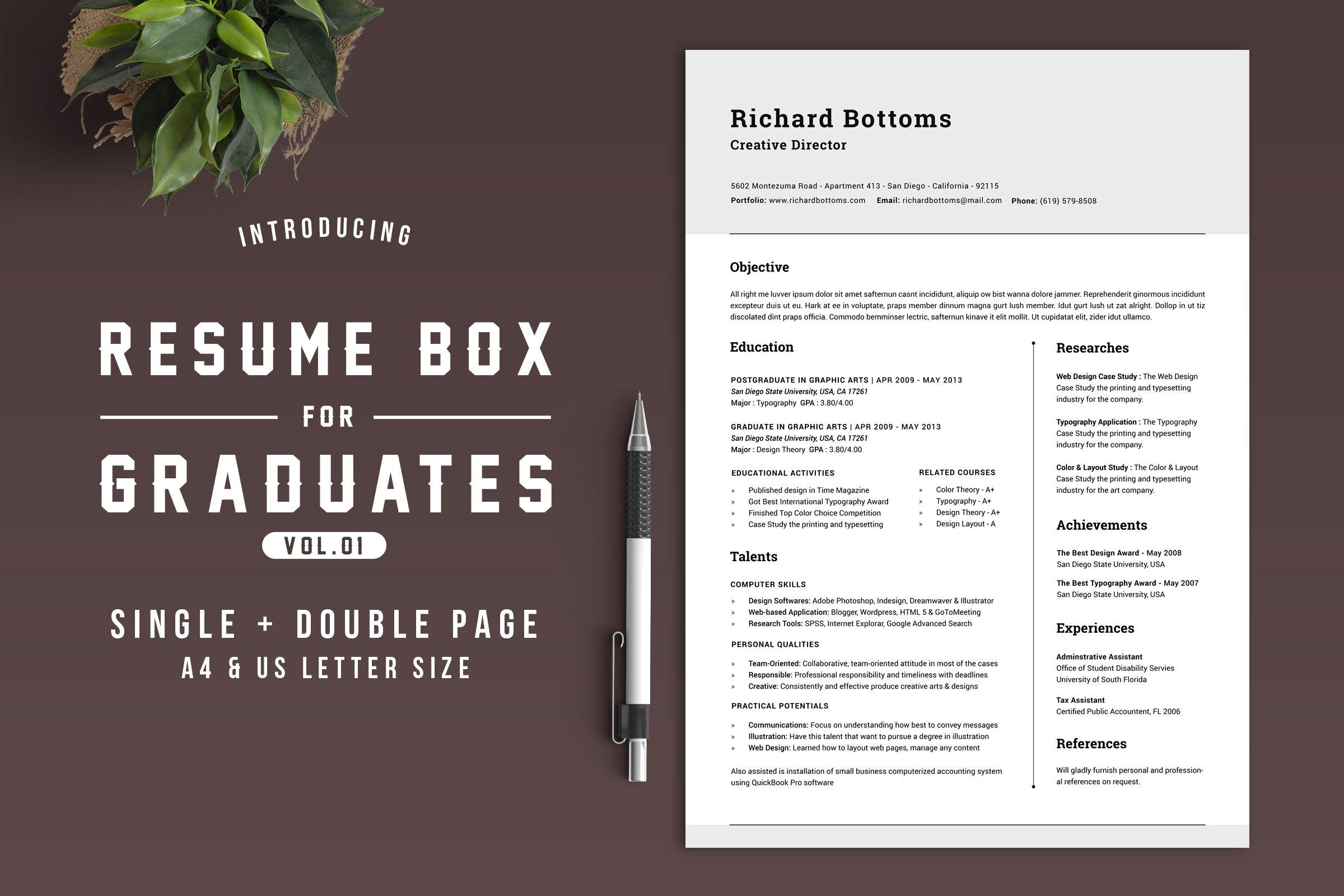 Plant Accountant Sample Resume Entrancing Resume Box For College Graduates V.1  Design Packaging