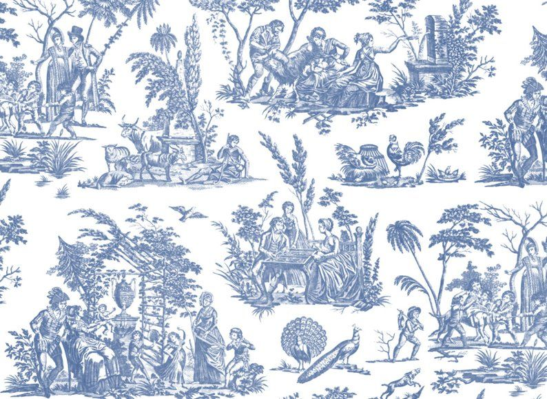 Marseilles Toile Willow Ware Blue Peel N Stick Or Etsy Willow Ware Canvas Texture Victorian Wallpaper