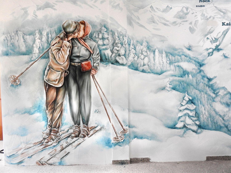 Wandgestaltung In Der Nockalmbahn Im Skigebiet Bad Kleinkirchheim. *** Wall  Painting In A