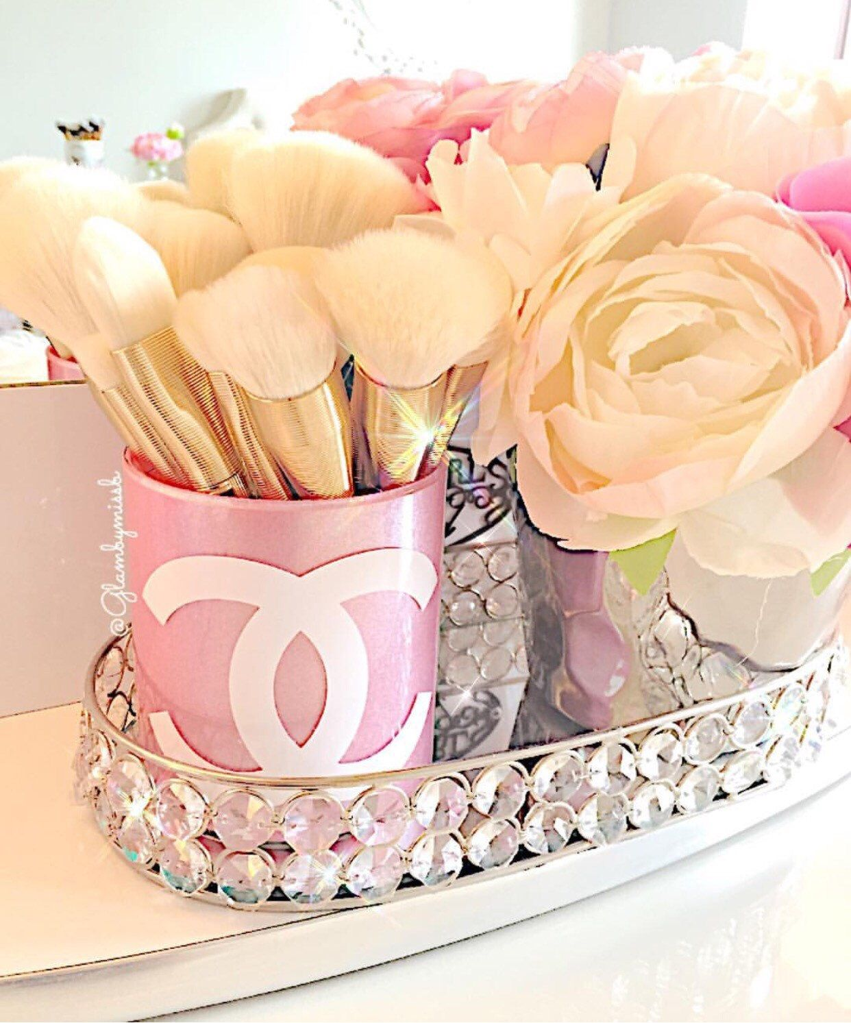 Chanel Inspired glass makeup brush holder by