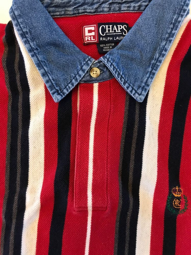 eac90615385 Vintage Vertical Stripe Chaps Ralph Lauren Shirt Rugby Polo L Denim Collar # RalphLauren #PoloRugby