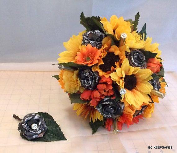 Camo Outdoor Wedding Ideas: Sunflower Fall Mossy Oak Camo Bullet Bouquet