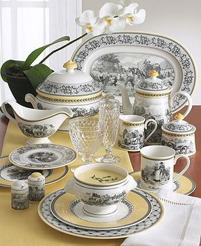 French country - black white and yellow toile - china by villeroy \u0026 boch - Audun & French country - black white and yellow toile - china by villeroy ...