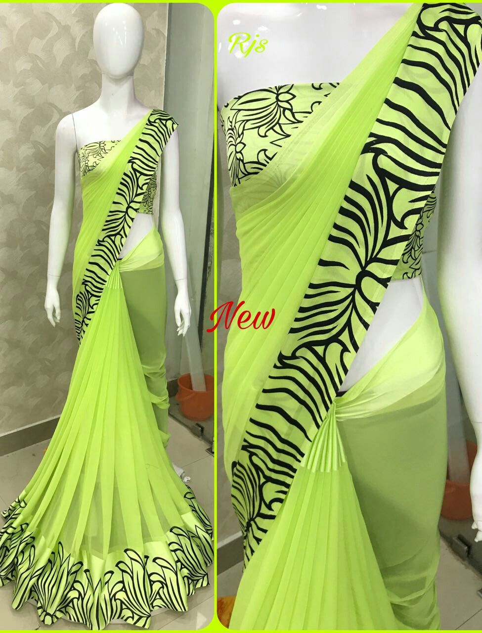 happy new year all new designs and new colours _georgette sarees with satin patta note multiples available same sarees with border _singles jus 1399