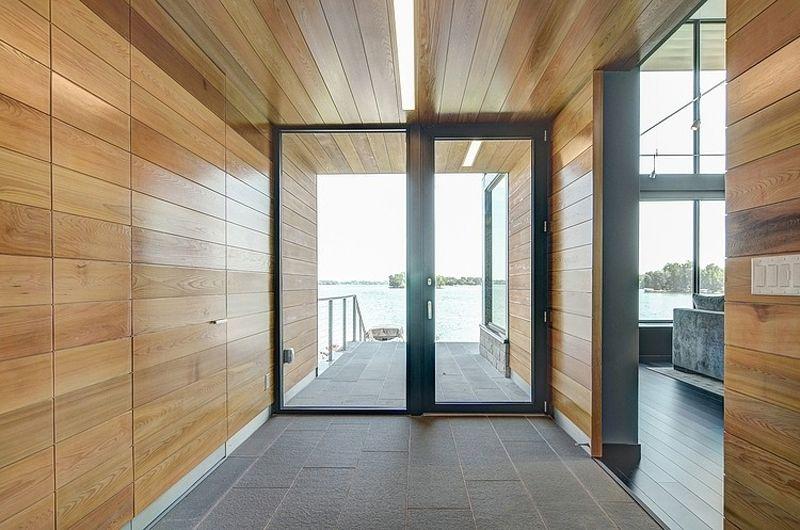 Httptrendirhouse designglass lake house features inspiring edgewater residence home design in usa wooden wall with glass door modern interior design planetlyrics Images