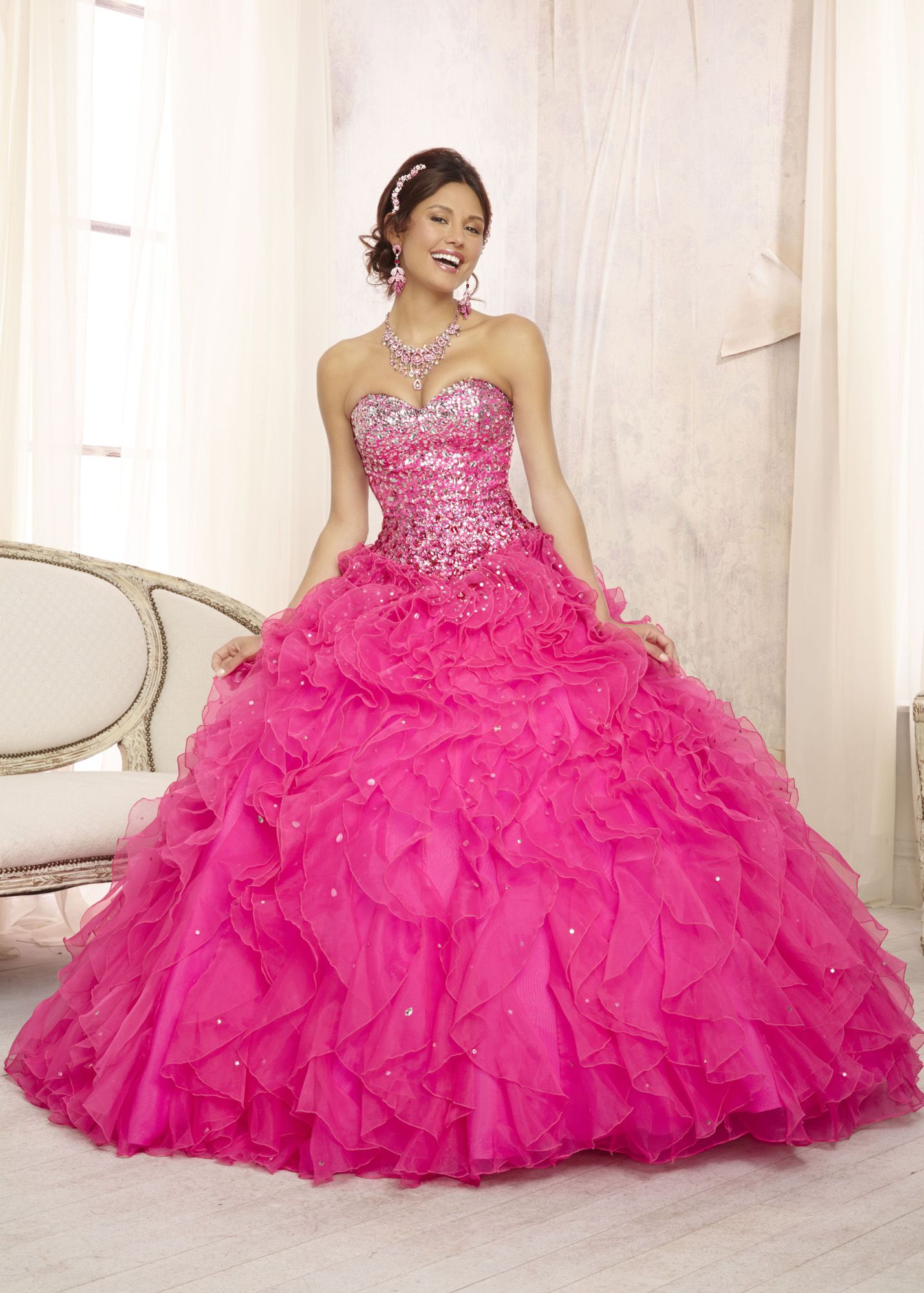 Vizcaya 88096 - Hot Pink Ombre Strapless Quinceanera Prom Dresses ...