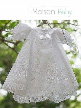 Vestido de batizado em renda renascença - MaisonBaby