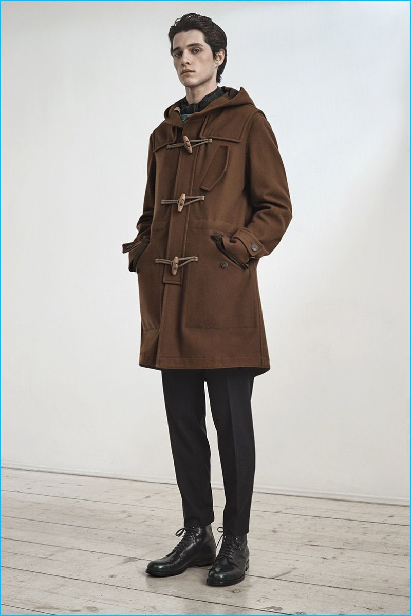 Luke Powell models a brown duffle coat from Boglioli's pre-fall 2016 collection.