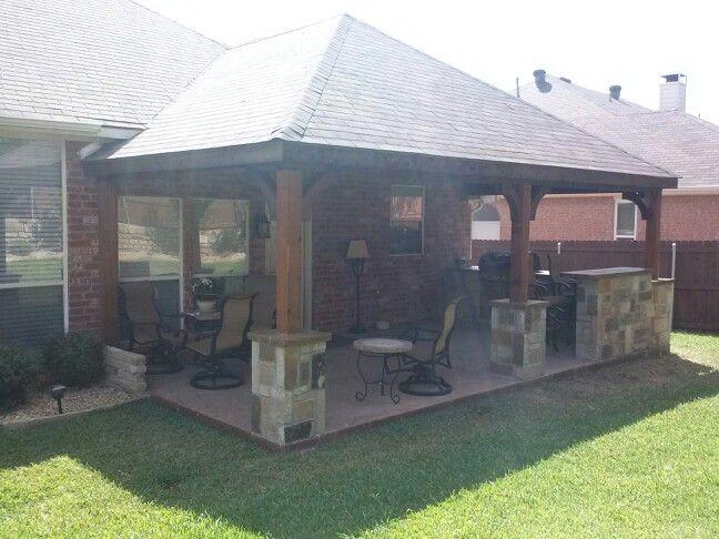 Hip Cedar Roof S S Concrete Outdoor Kitchen Pic 2 Pergola Patio Backyard Patio Designs Patio Remodel
