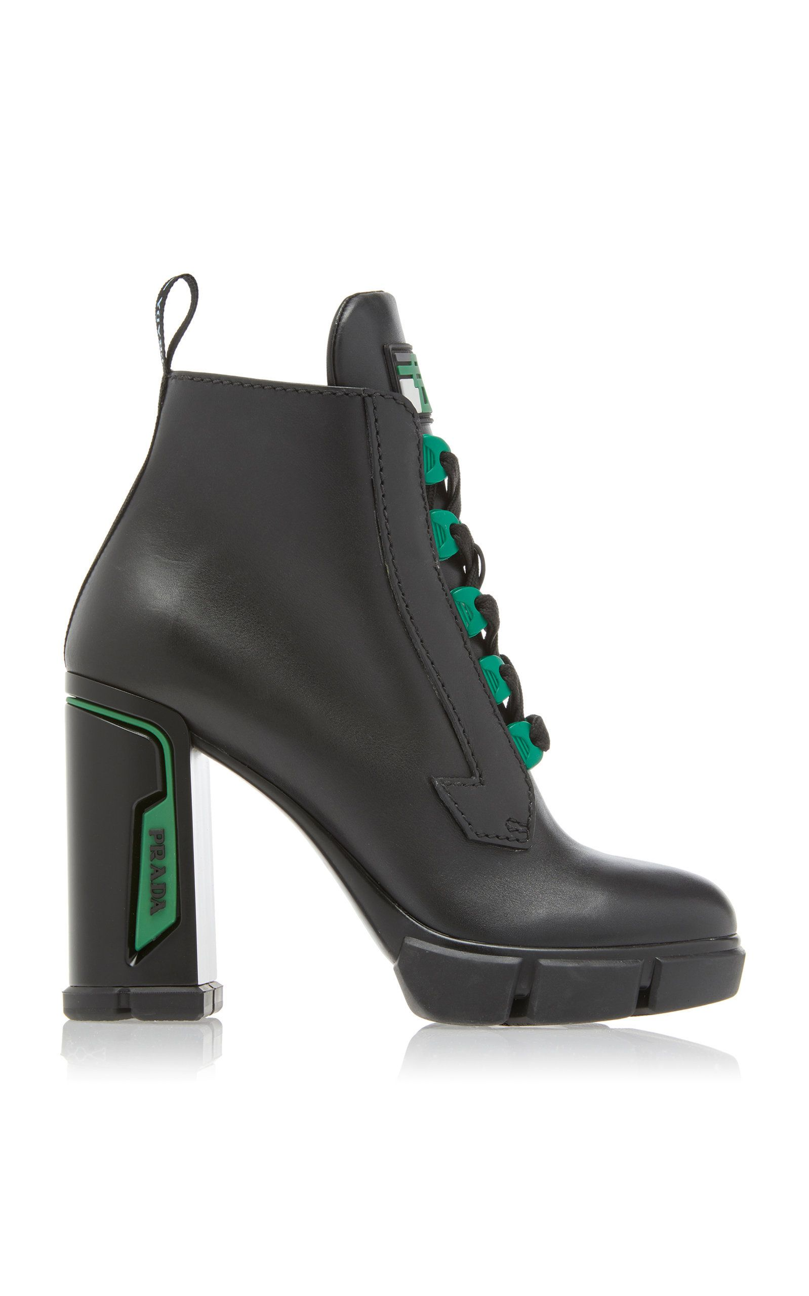 be7382d10fa Tronchetti Leather Ankle Boots by PRADA Now Available on Moda Operandi