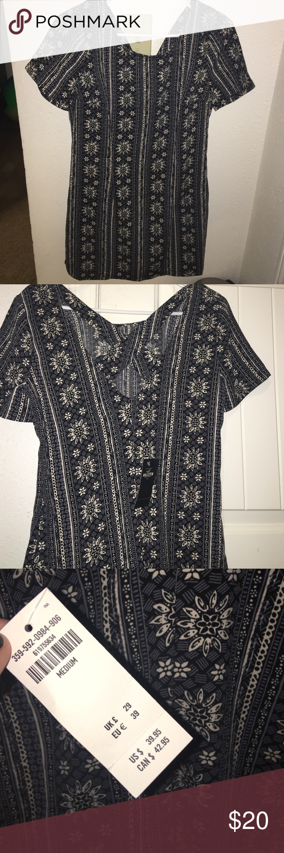 Hollister crossback dress Brand new with tag, it is above the knee , pretty black and white floral print Hollister Dresses