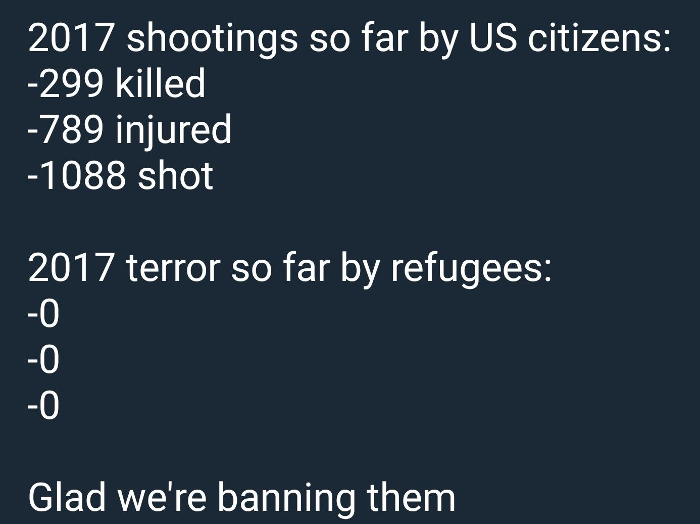 Refugee Quotes Yeah That's Muslim Ban Is Really Solving The Whole Gun Violence