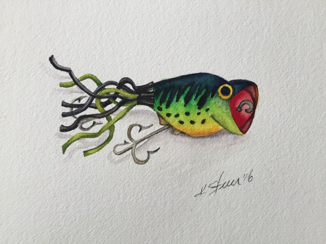 Hula Popper Watercolor C Kathy Sturr Fish Painting Drawings Fish