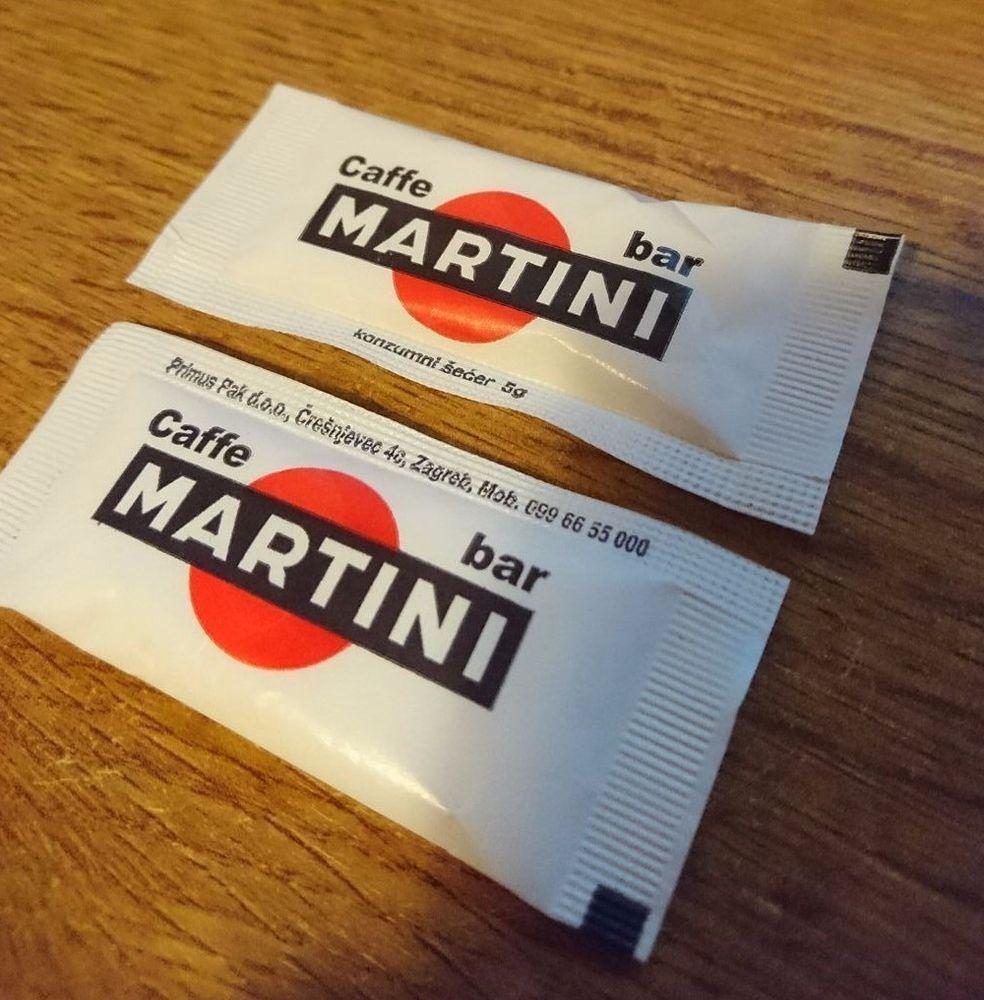Zagreb Croatia Caffe Bar Martini Remetinec Small Caffee Sugar Bag Pack Caffe Zagreb Croatia Martini