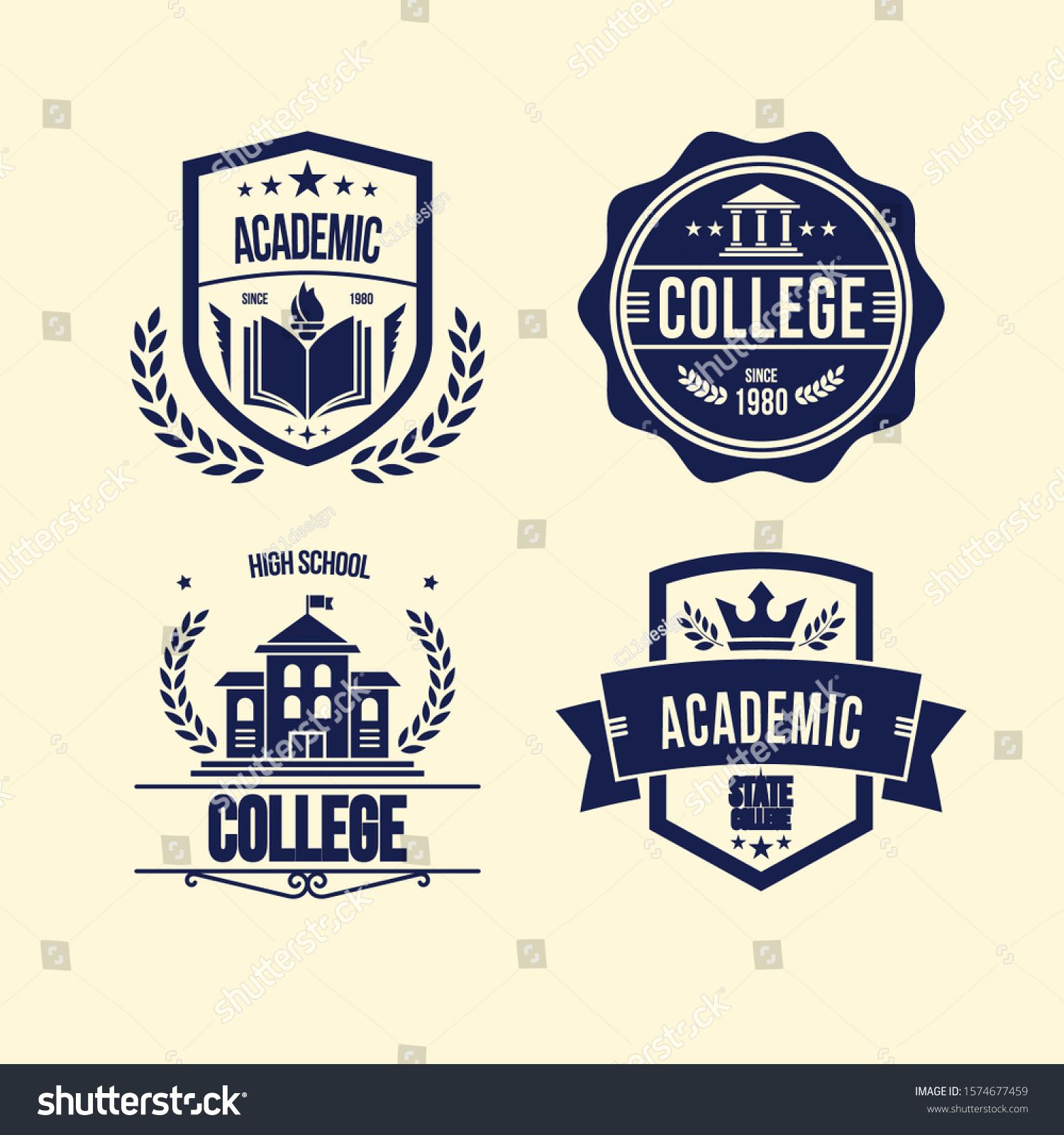 Set of university and college school crests and logo