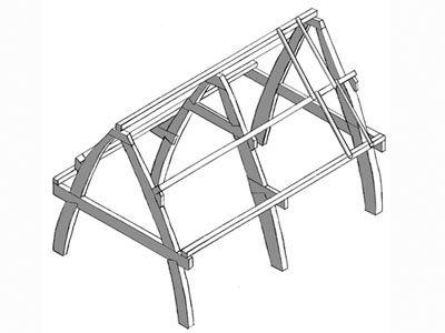 Cruck frame timber framing pinterest joinery for Cruck frame house plans