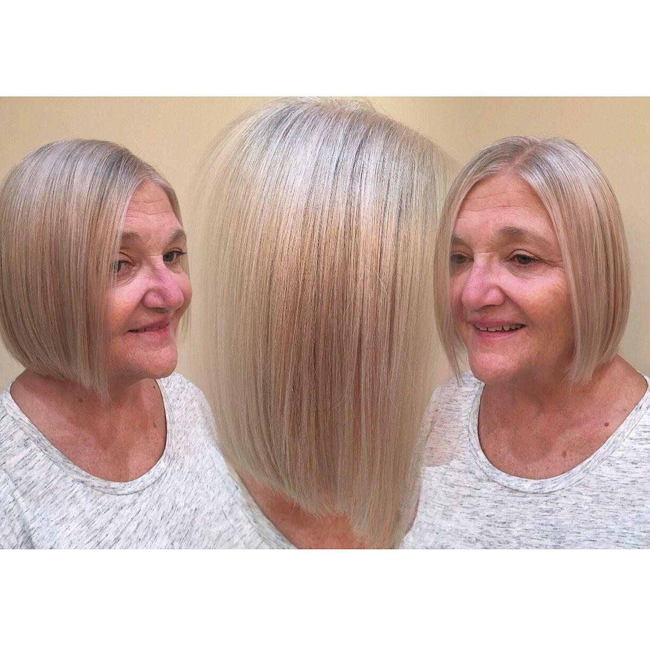 Natural looking gray hair platinum blonde titanium toner long bob lob short hair