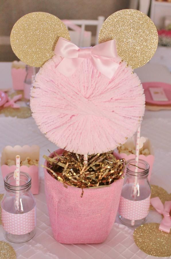 Pink and gold minnie mouse party ideas pinterest