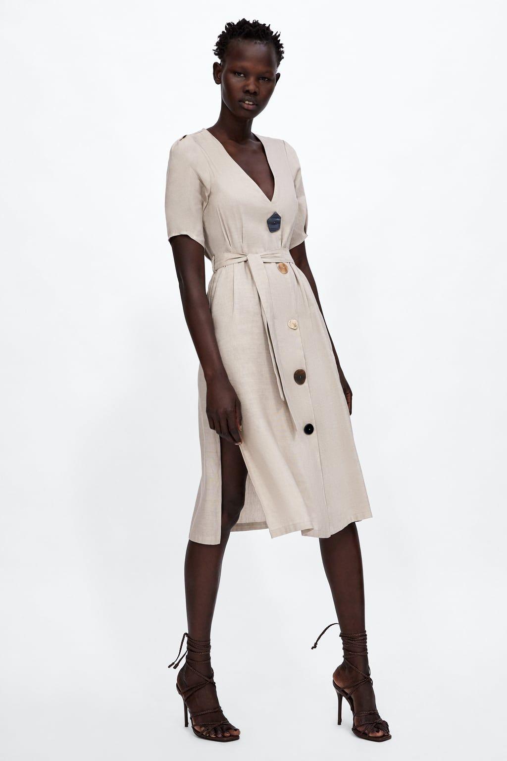zara - woman - buttoned dress | modestil, mode röcke, kleider
