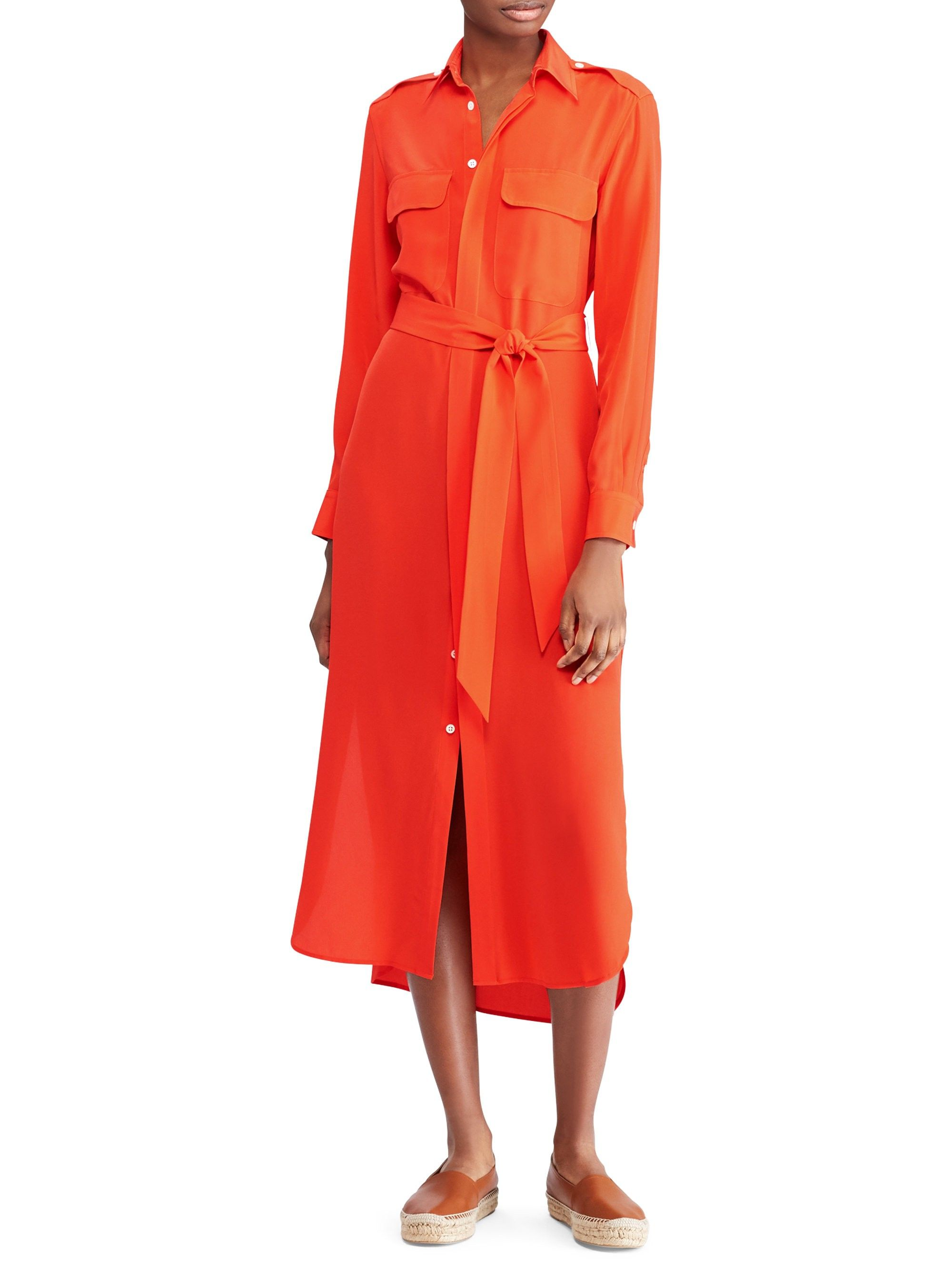 8298c0a17a221 Ralph Lauren Belted Silk Shirt Dress - Red 10 | Products in 2019 ...