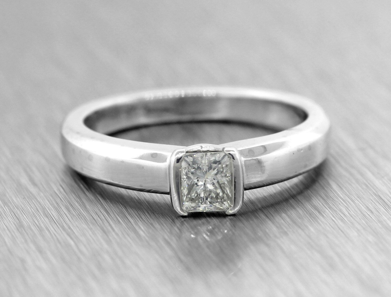 Movado Platinum 50ctw F VS1 Solitaire Diamond Vintage Engagement