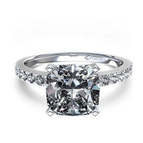 Cushion Cut Diamond Engagement Ring in 14k White Gold