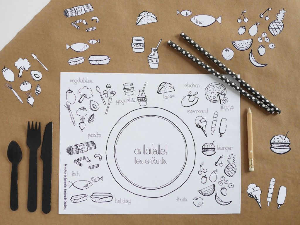 free printable set de table colorier pour les enfants colouring placemat for kids diy. Black Bedroom Furniture Sets. Home Design Ideas