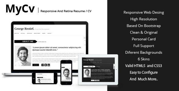 My Cv - Responsive And Retina Resume / CV http://themeforest.net ...