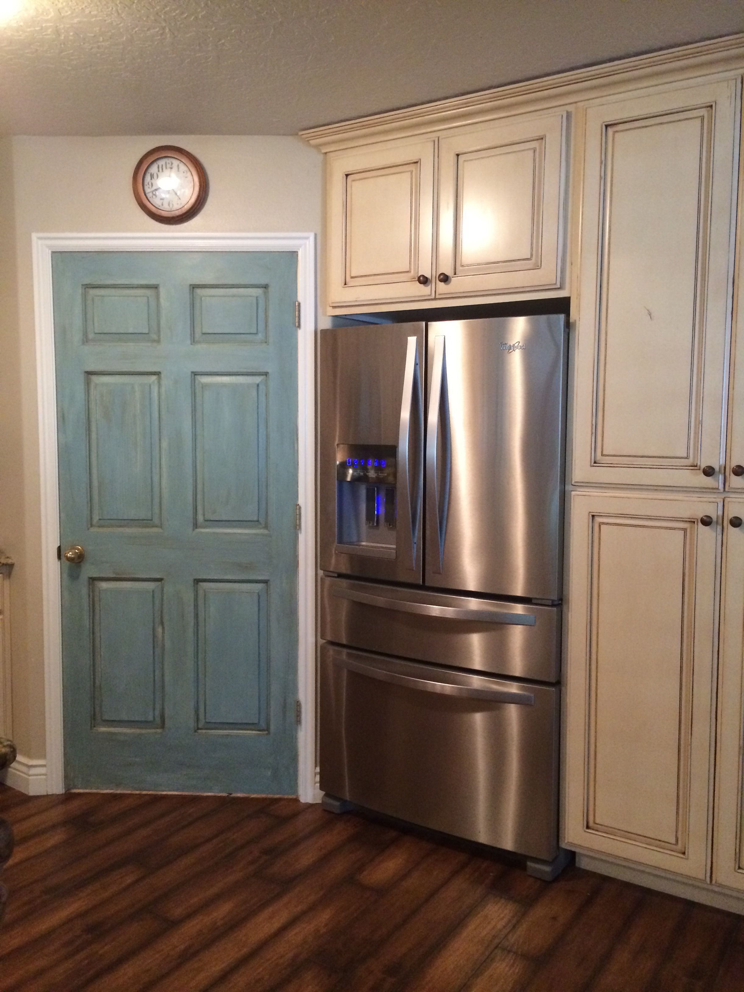 Interior Door Painted With Annie Sloan Duck Egg Blue And Dark Wax