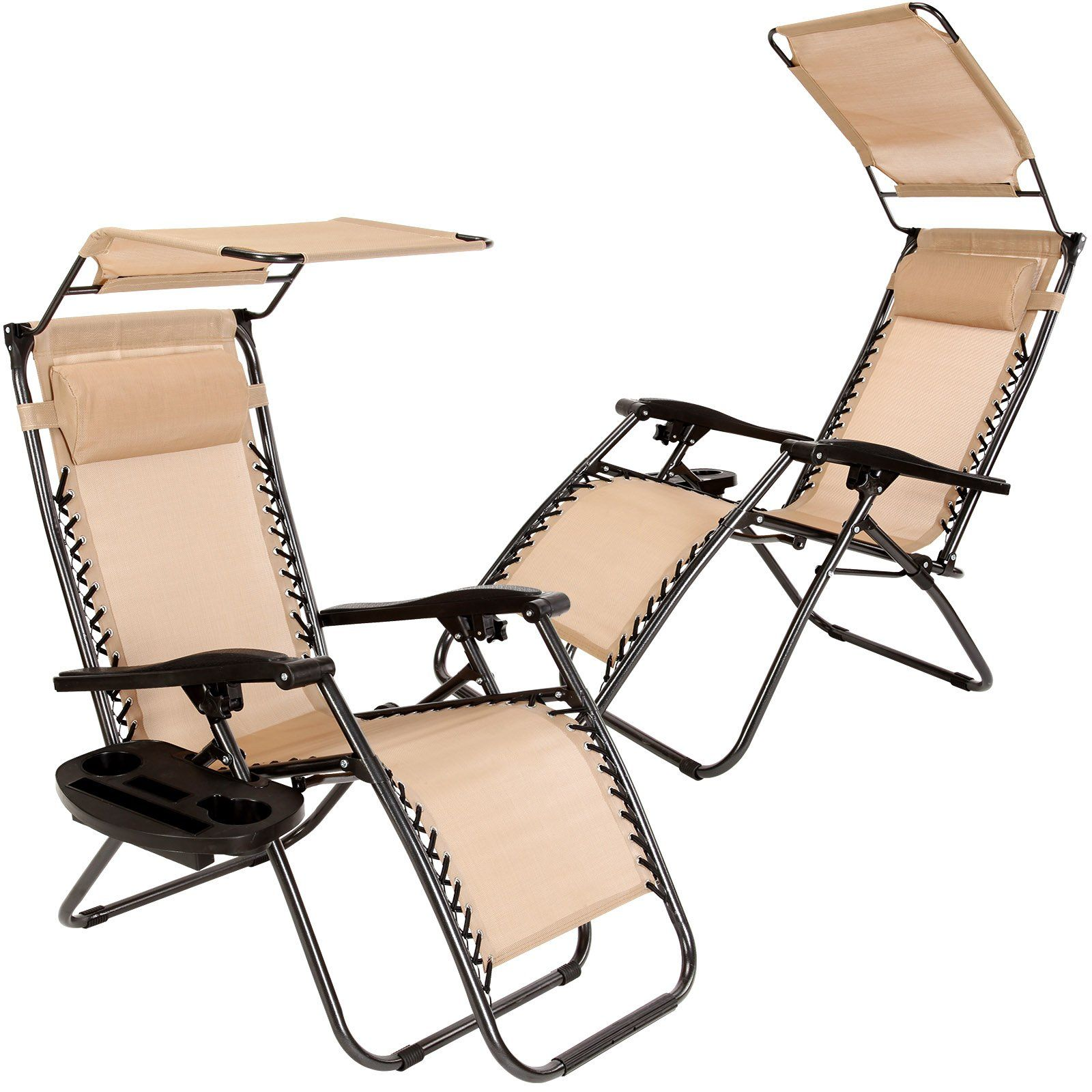 Set Of 2 Zero Gravity Outdoor Lounge Chairs W Sunshade Cup Holder
