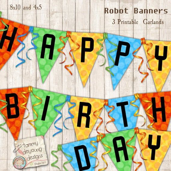Robot Party Banner Printable, Kids Birthday Party Garland, Robot bunting, robot decorations, Robot p
