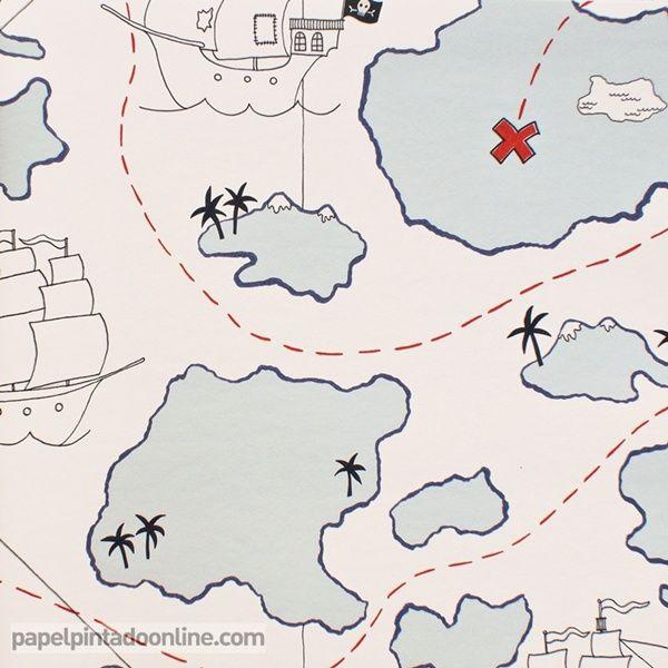 Papel pintado infantil lilleby 2673 con dibujo mapa del - Papel pintado mapa ...