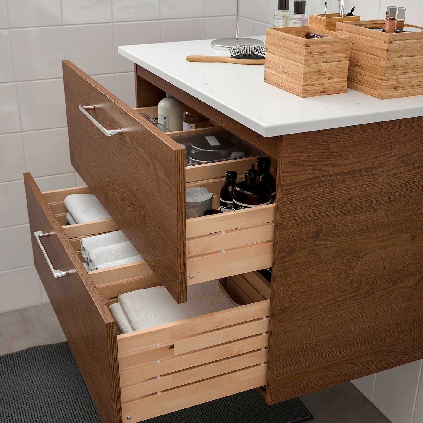 Godmorgon Tolken Sink Cabinet With 2 Drawers Brown Stained Ash
