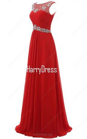 A Line Scoop Neck Chiffon Tulle Floor Length Beading Red Prom Dress