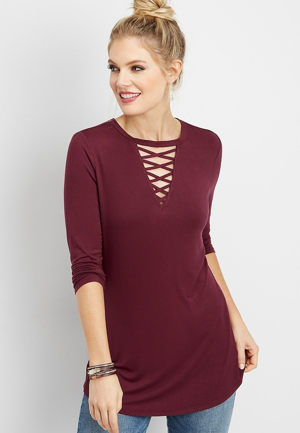 d57289d4811 24 7 strappy neck tunic tee