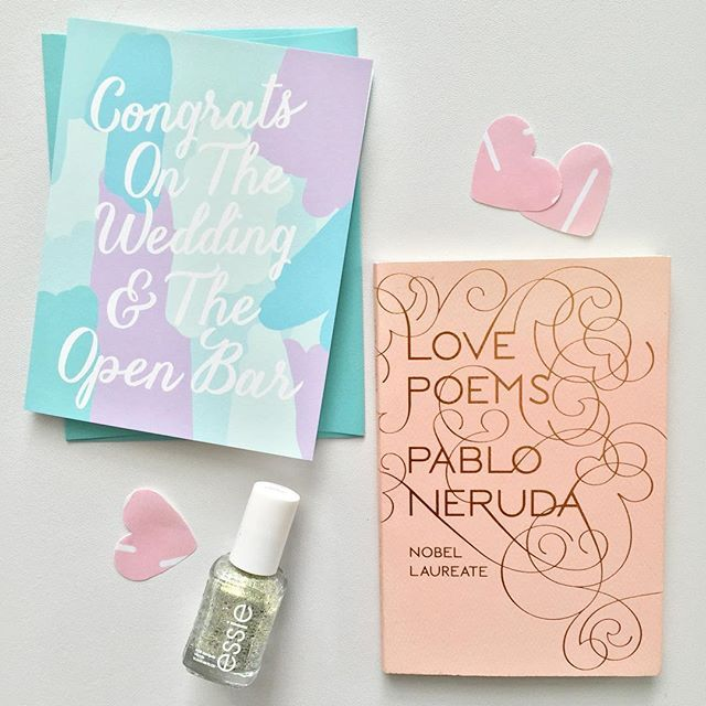 Cheers to getting girly & lovey dovey for summer wedding season. This adorable wedding card by Matrick and Eve goes well with and bridal shower gift.