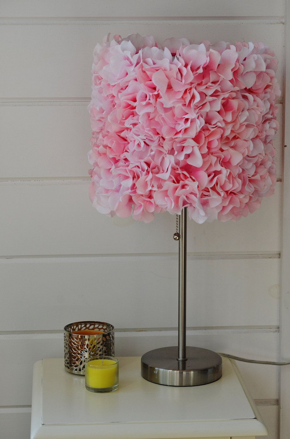 Large Pink Flower Lampshade And Silver Stand Arts And Crafts