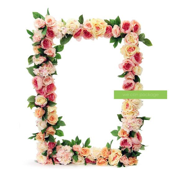 Artificial Flower Photo Prop Frame - Large Wedding Picture Frame ...