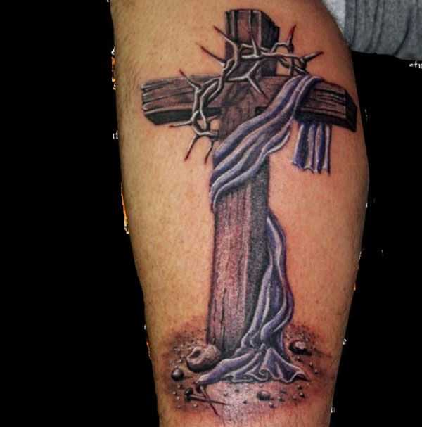 Cross Calf Tattoo On Tattoochief Com