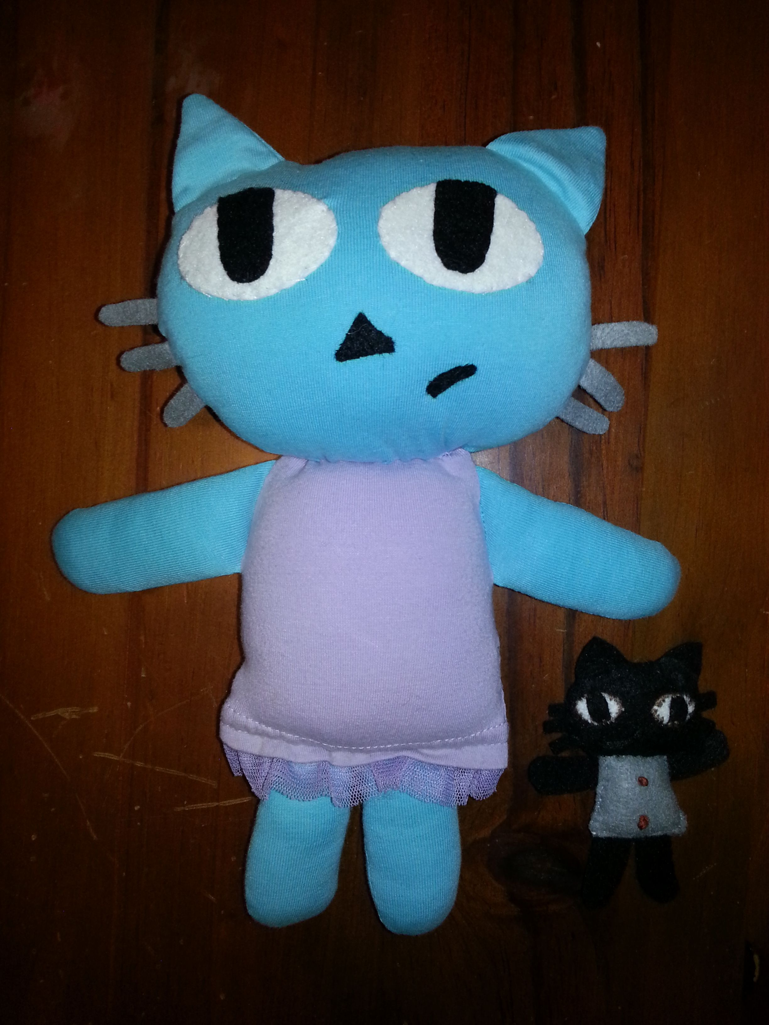 cat softie and small cat from felt