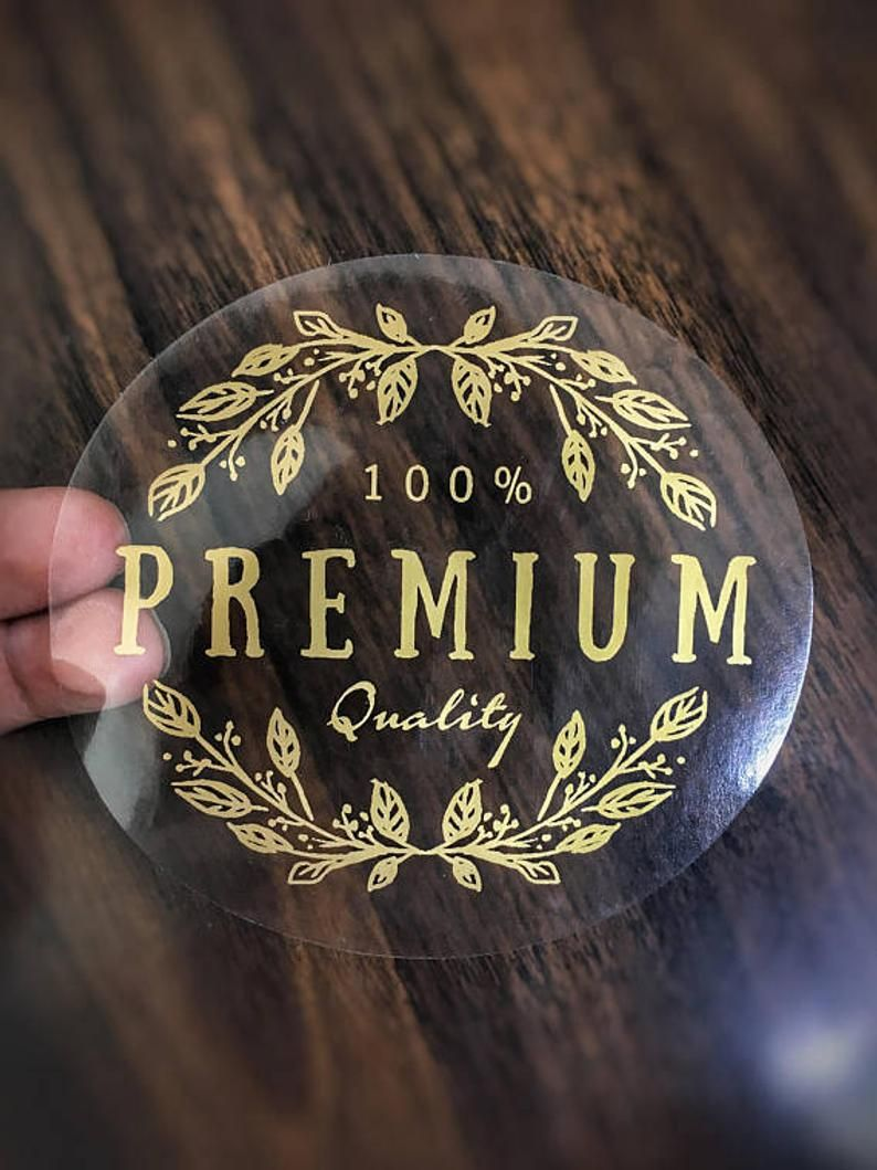 Custom Labels 100 Round Clear Stickers GOLD Ink clear