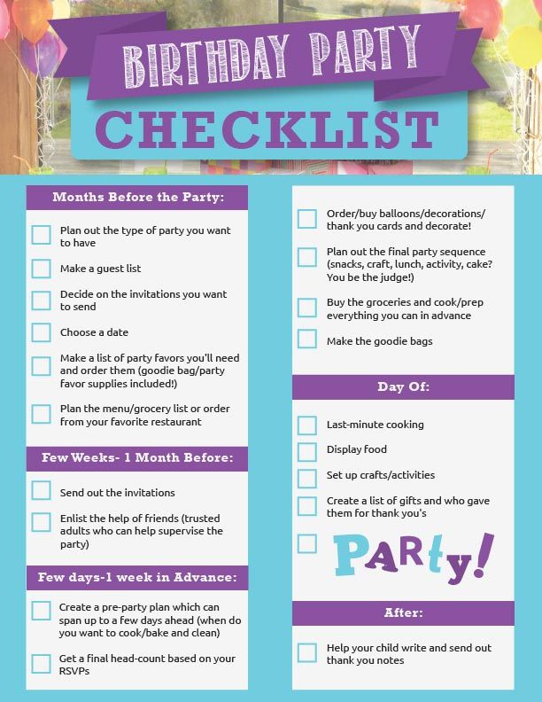 Planning A Th Birthday Party Checklist  Party Ideas