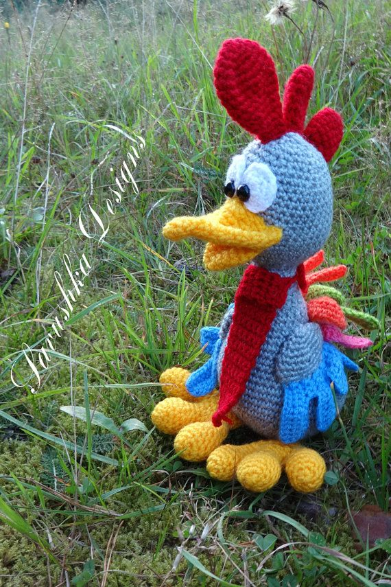 Crochet Pattern Rooster Easter Chickens Pedro Amigurumi Toy Pdf