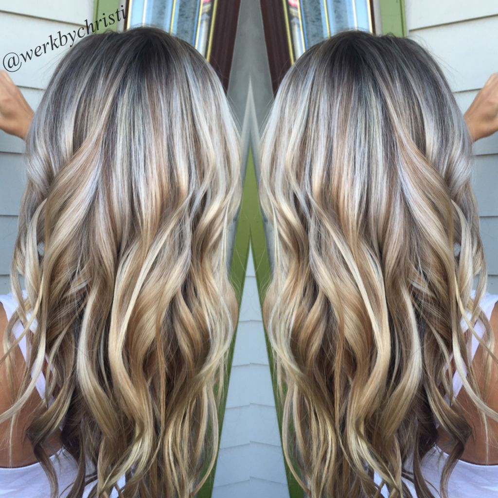 Highlights and lowlights, platinum blonde. Honey blonde. Balayage ...