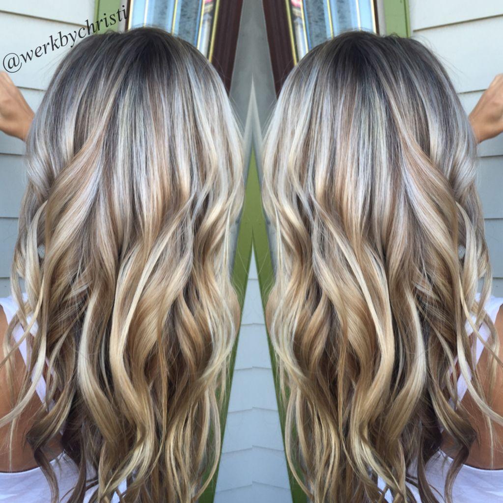 Highlights and lowlights platinum blonde honey blonde balayage