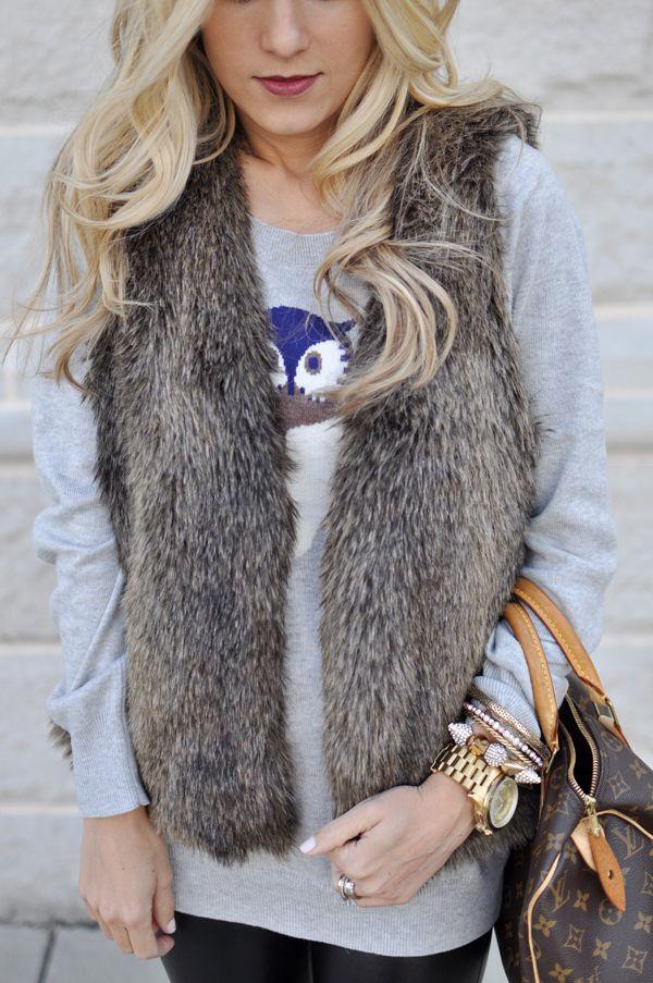 fur vests and dark lips
