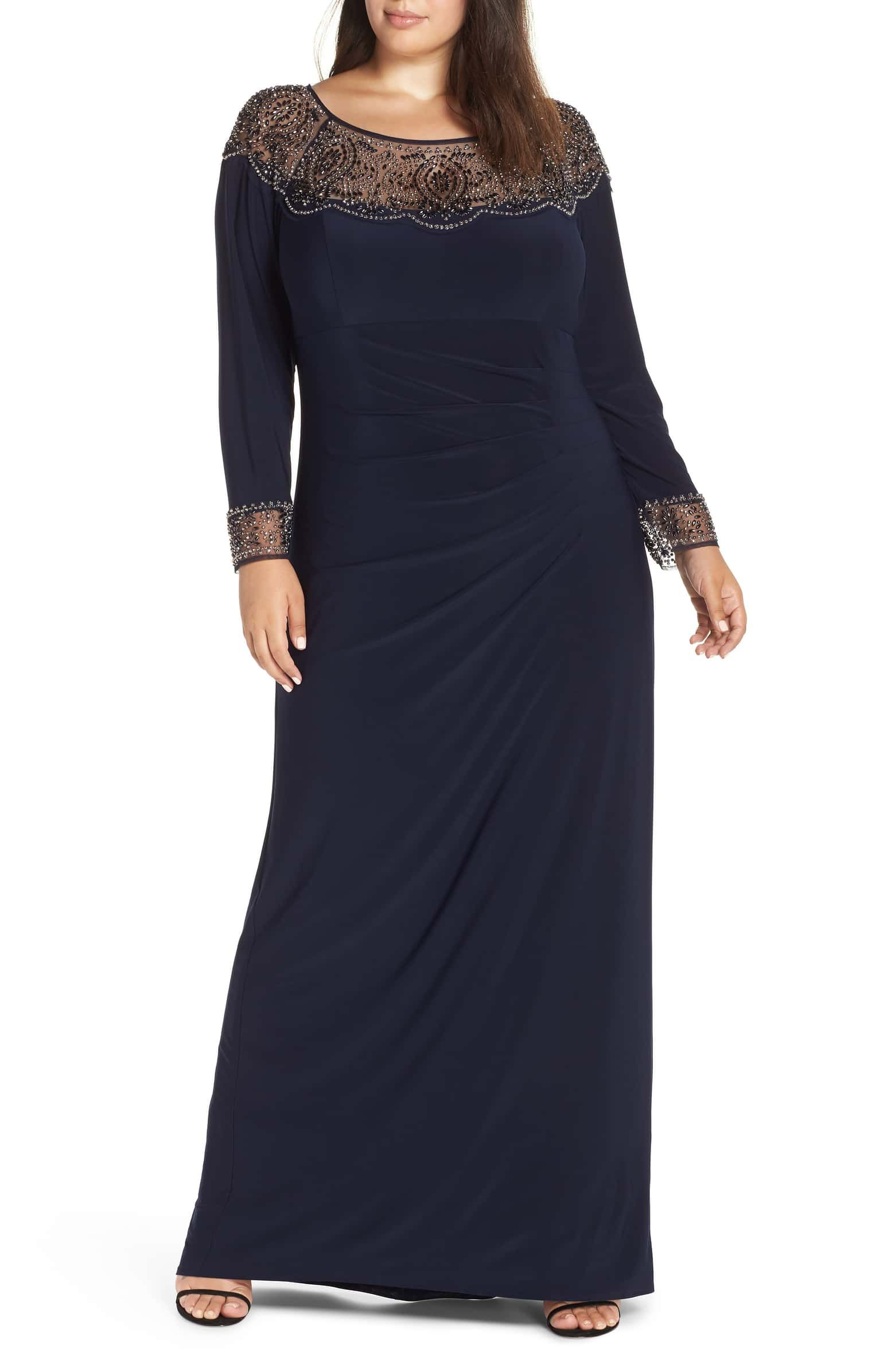 Xscape Side Ruched Beaded Gown Plus Size Nordstrom Stylish Formal Dresses Beaded Gown Gowns [ 2392 x 1560 Pixel ]