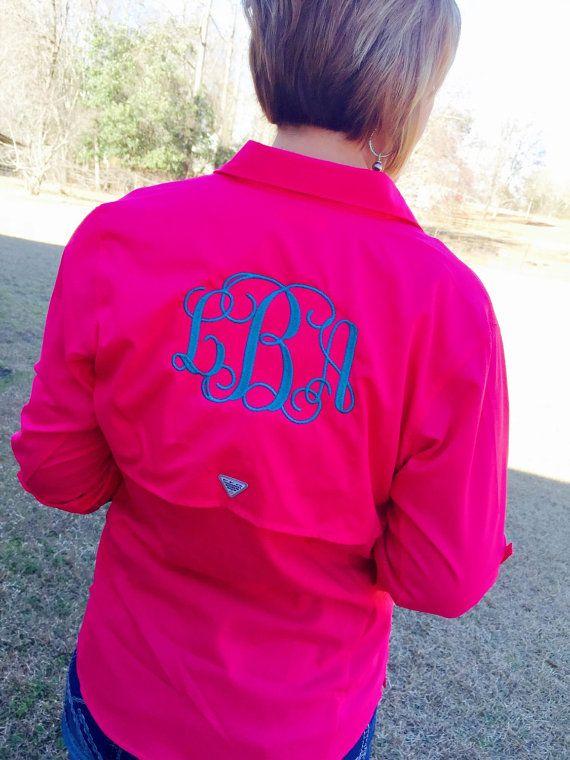 07337ef35dadf Womens monogrammed columbia PFG Tamiami Long sleeve Fishing Shirt ...